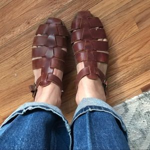 90s Rockport leather sandals sz 8 brown comfy cute